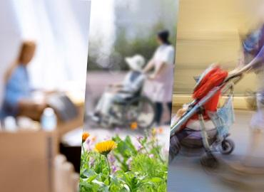 montage of image depicting elder care, childcare and cleaning
