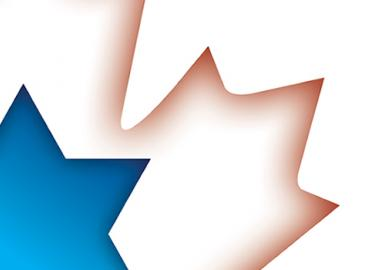 Graphic of blue star of david and white maple leaf
