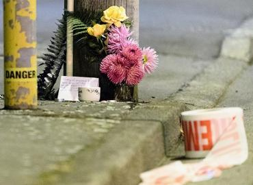 Flowers are laid near the scene of a horrific attack on a mosque in Christchurch, New Zealand.