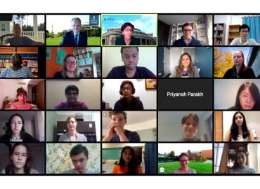 A group of people using zoom.