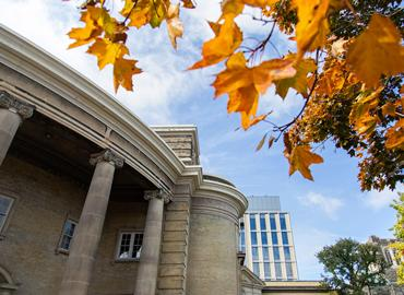 Convocation Hall with leaves in the forefront.