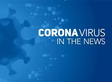 Illustrated polygonal coronavirus cells on dark blue background with text that reads Coronavirus in the News
