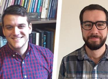 Philosophy PhD students Jeremy Davis and Eric Mathison.
