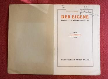 The cover of Der Eigene.