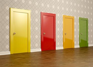 four coloured doors