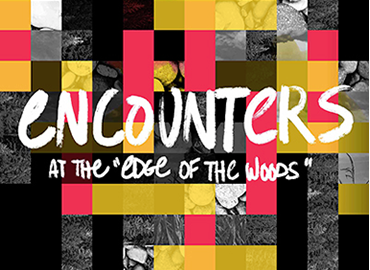 The words: encounters at the edge of the woods on a multi-squared backgroud