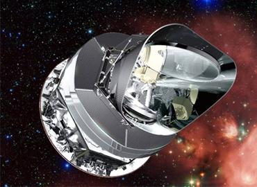 The Planck telescope floating in space.