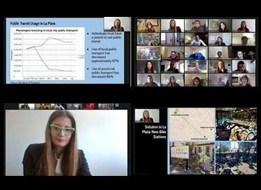 Composite of screencaptures from the global classroom Zoom including lecture slides.