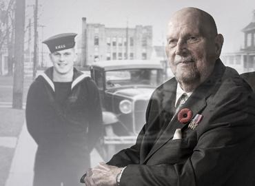 Donald Gorman poses with images of his time in the Canadian Navy during WWII.