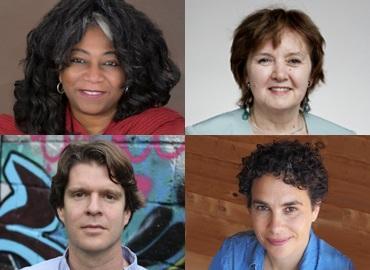 Headshots of Kamari Clarke, Eugenia Kumacheva, Amira Mittermaier, Kevin Lewis O'Neill,