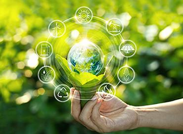 Hand holding light bulb against nature on green leaf with icons energy sources for renewable development