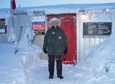Jim Drummond stands in front Eureka Weather Station on Ellesmere Island.