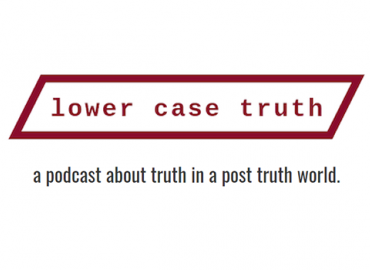 A logo for lower case truth, with red and black text.
