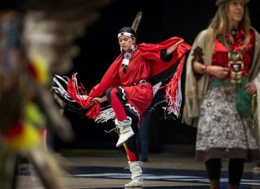 Miyopin Cheechoo, a first-year student studying humanities, was the head female dancer at the U of T powwow organized by the Indigenous Studies Students' Union.