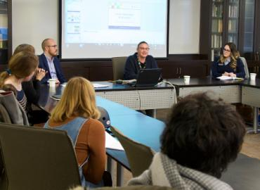 Alexander Eastwood, Kim Yates and Mary Stefanidis at a panel discussion for graduate students in the Department of English.