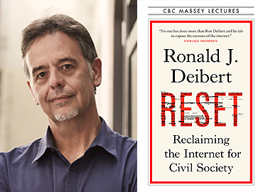 A profile picture of Ron Deibert and the cover of the new book - Reset: Reclaiming the Internet for Civil Society.