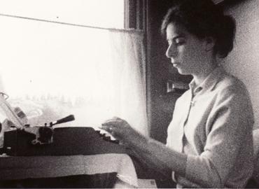Munk at her typewriter