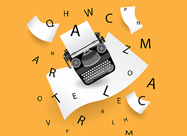 typewriter illustration on an orange background with floating letters