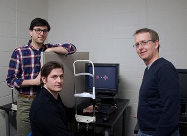 Postdoctoral fellow Eric Taylor, graduate student Jason Rajsic and Professor Jay Pratt of psychology.