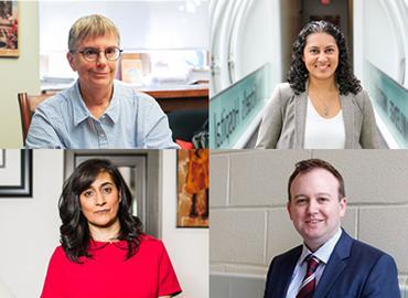 Clockwise from top left: U of T's University Professor Lynne Viola, PhD student Fahima Dossa, Professor Dwight Seferos and Professor Anita Anand