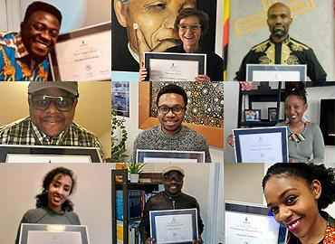Composite of awardees holding their certificates.