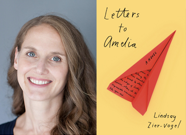 """Alumni Lindsay Zier-Vogel and the cover of the book, """"Letters to Amelia."""""""