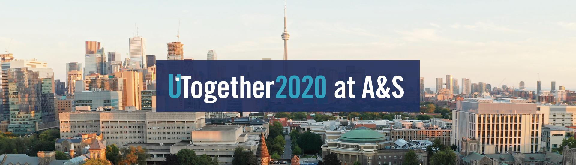 A banner for COVID 19 FAQs webpage, graphic showing UTogether 2020 logo on top of the city of Toronto skylight with CN Tower